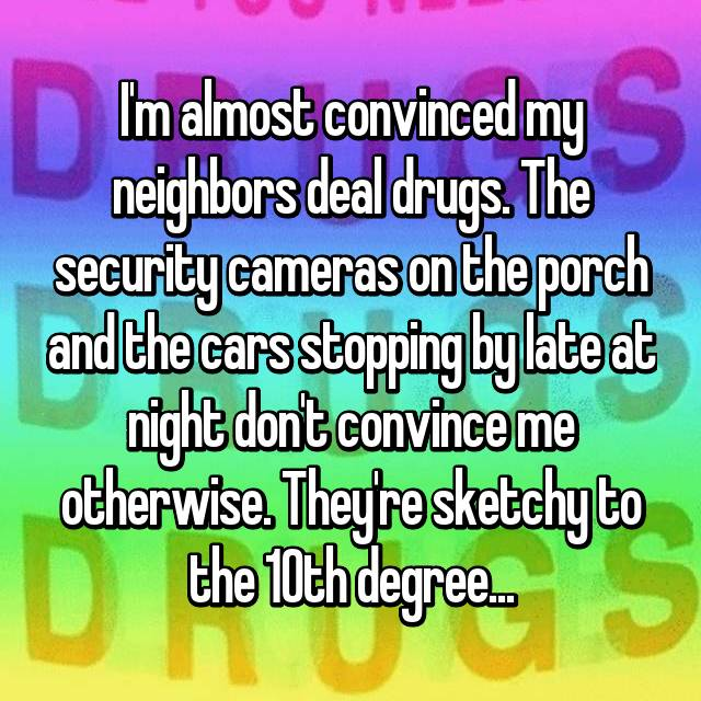 I'm almost convinced my neighbors deal drugs. The security cameras on the porch and the cars stopping by late at night don't convince me otherwise. They're sketchy to the 10th degree...
