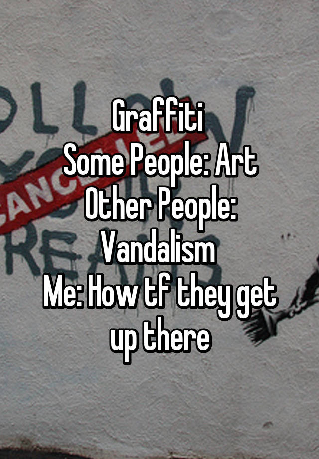 Graffiti  Some People: Art Other People: Vandalism  Me: How tf they get up there