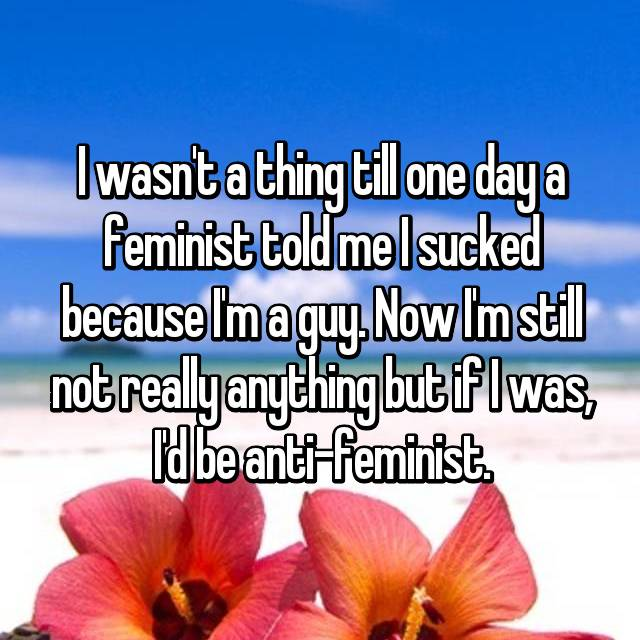 I wasn't a thing till one day a feminist told me I sucked because I'm a guy. Now I'm still not really anything but if I was, I'd be anti-feminist.