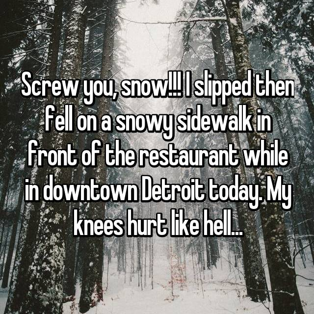 Screw you, snow!!! I slipped then fell on a snowy sidewalk in front of the restaurant while in downtown Detroit today. My knees hurt like hell...