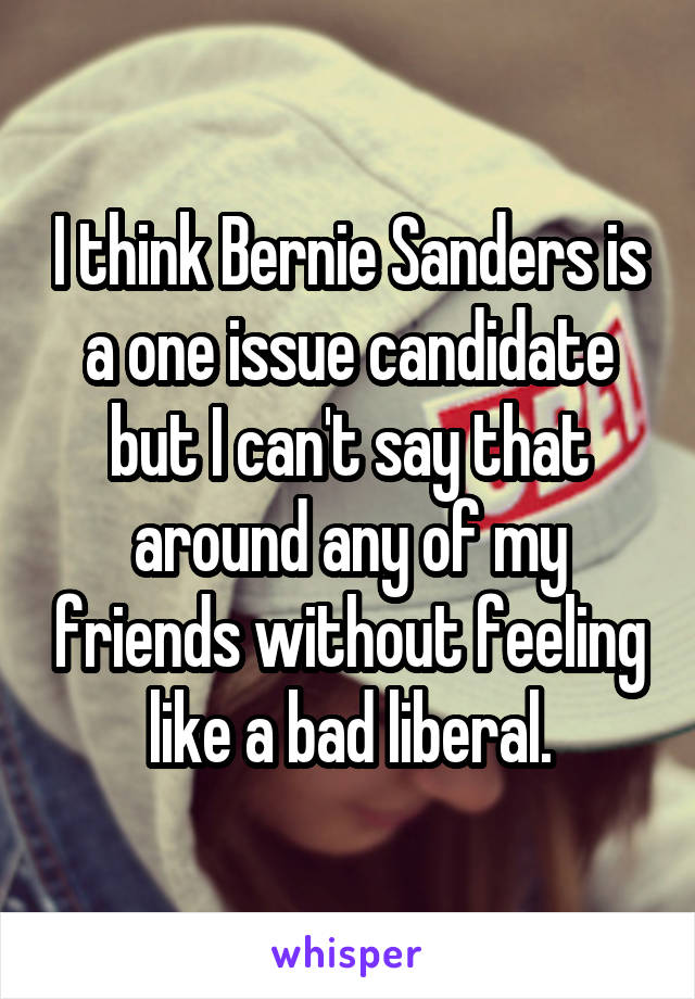 I think Bernie Sanders is a one issue candidate but I can