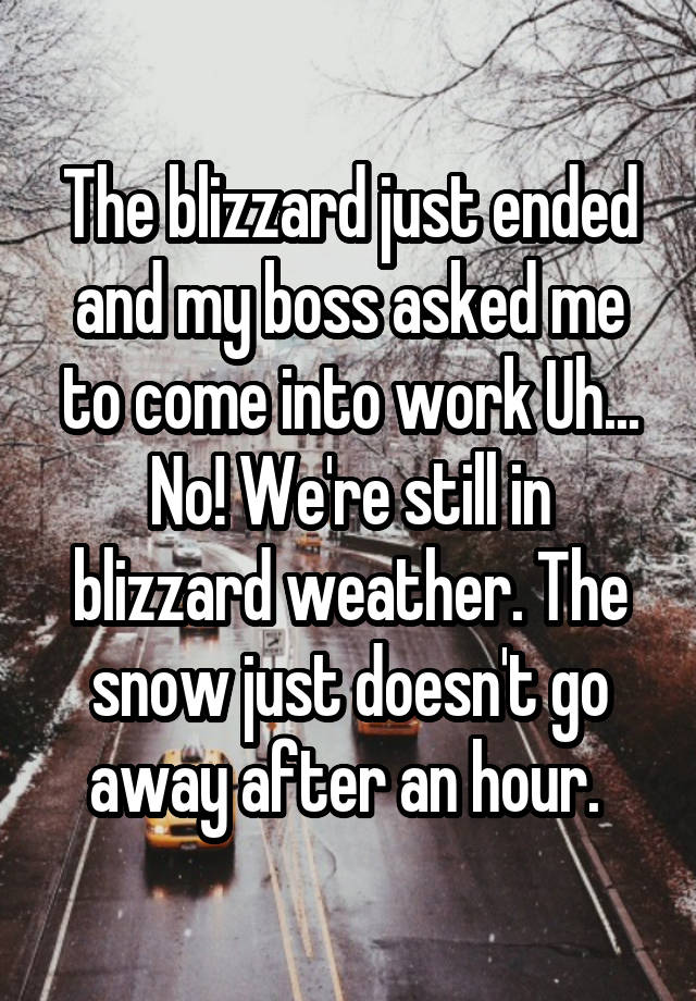 The blizzard just ended and my boss asked me to come into work Uh... No! We