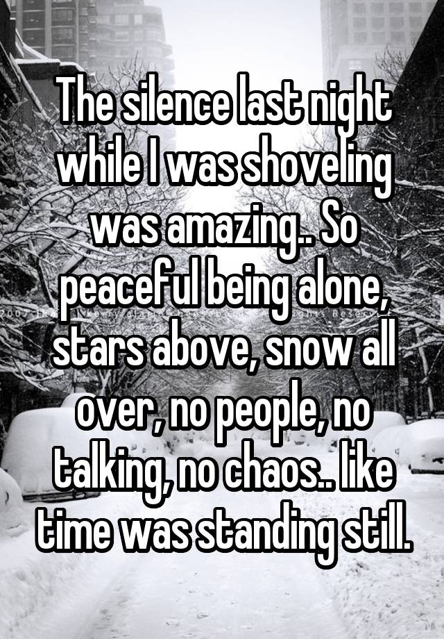 The silence last night while I was shoveling was amazing.. So peaceful being alone, stars above, snow all over, no people, no talking, no chaos.. like time was standing still.