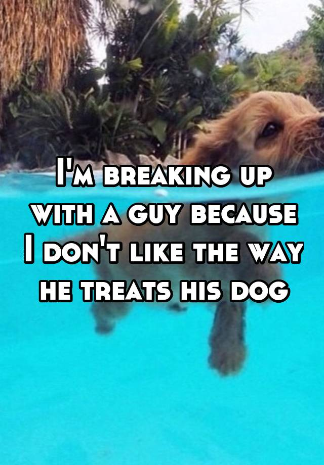 I'm breaking up with a guy because I don't like the way he treats his dog