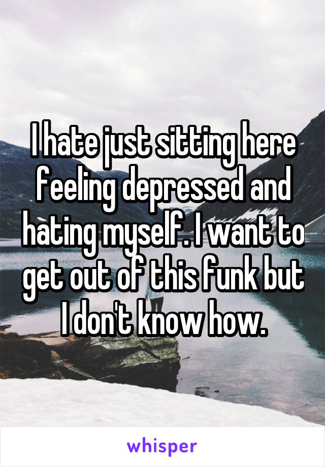 I hate just sitting here feeling depressed and hating myself. I want to get out of this funk but I don't know how.