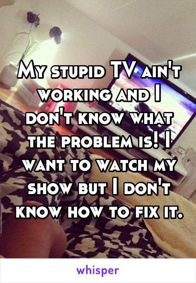 My stupid TV ain't working and I don't know what the problem is! I want to watch my show but I don't know how to fix it.