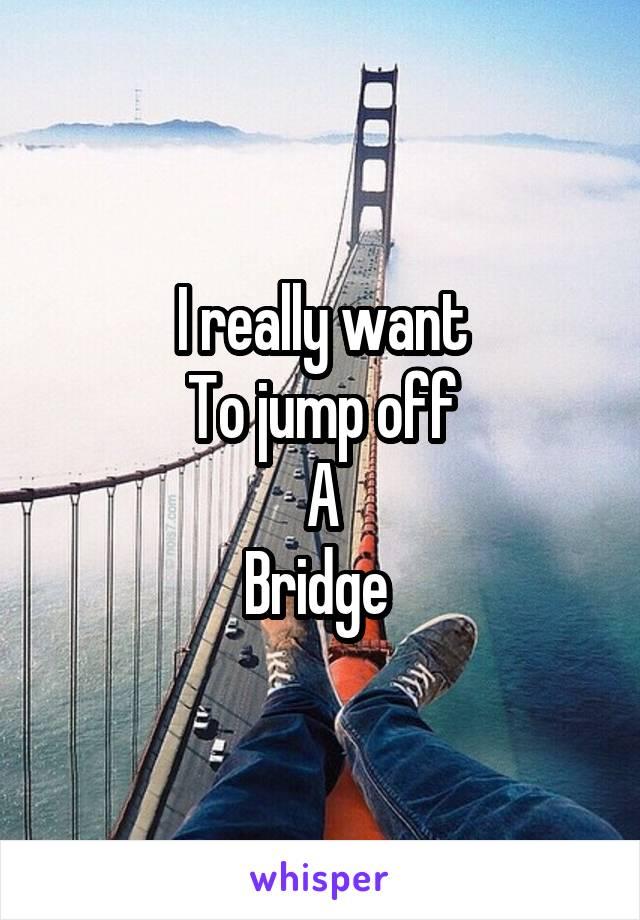 I really want To jump off A Bridge