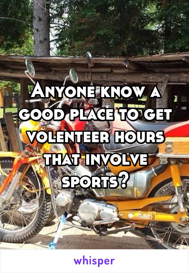 Anyone know a good place to get volenteer hours that involve sports?