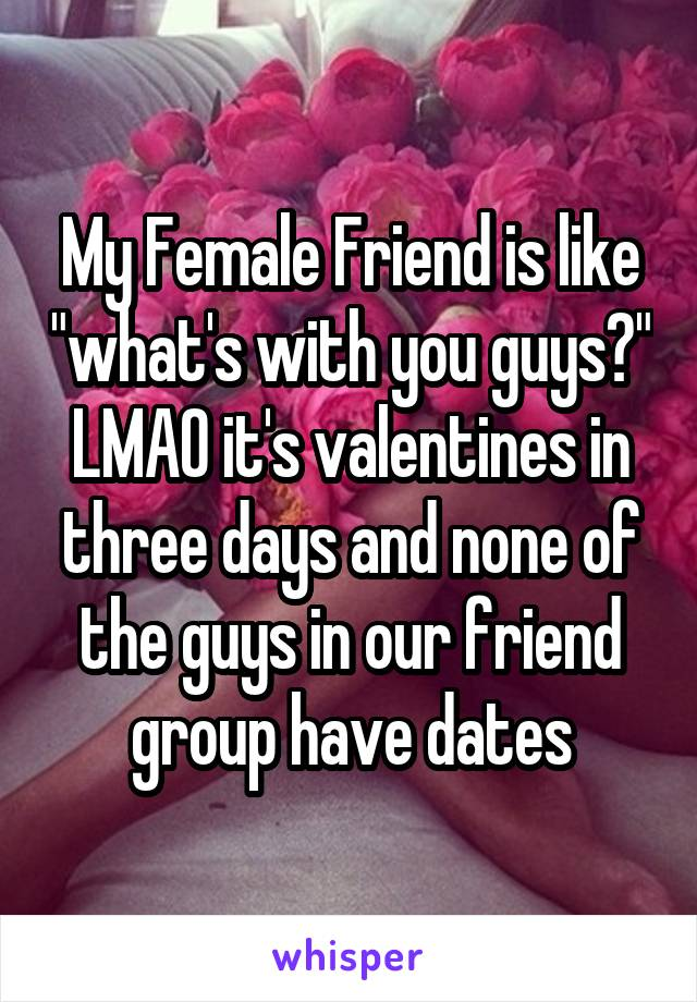 "My Female Friend is like ""what's with you guys?"" LMAO it's valentines in three days and none of the guys in our friend group have dates"