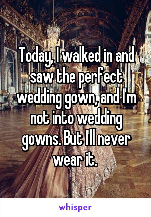 Today, I walked in and saw the perfect wedding gown, and I'm not into wedding gowns. But I'll never wear it.