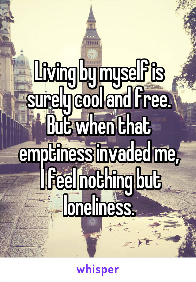 Living by myself is surely cool and free. But when that emptiness invaded me,  I feel nothing but loneliness.