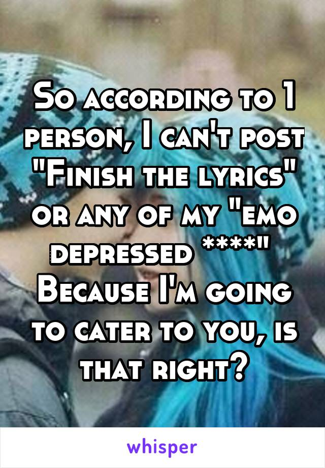 "So according to 1 person, I can't post ""Finish the lyrics"" or any of my ""emo depressed ****""  Because I'm going to cater to you, is that right?"