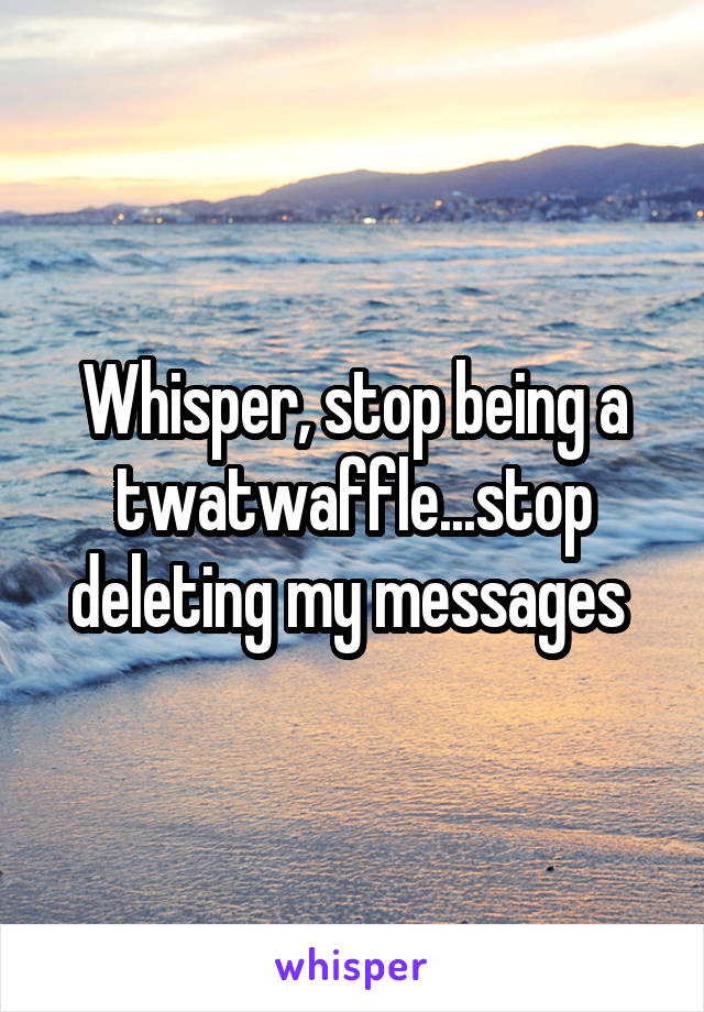 Whisper, stop being a twatwaffle...stop deleting my messages
