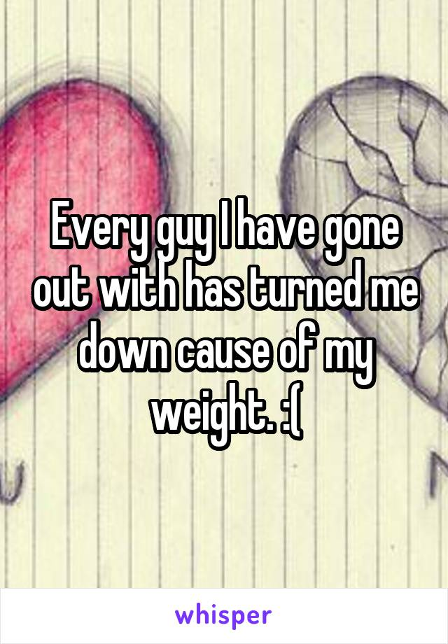 Every guy I have gone out with has turned me down cause of my weight. :(