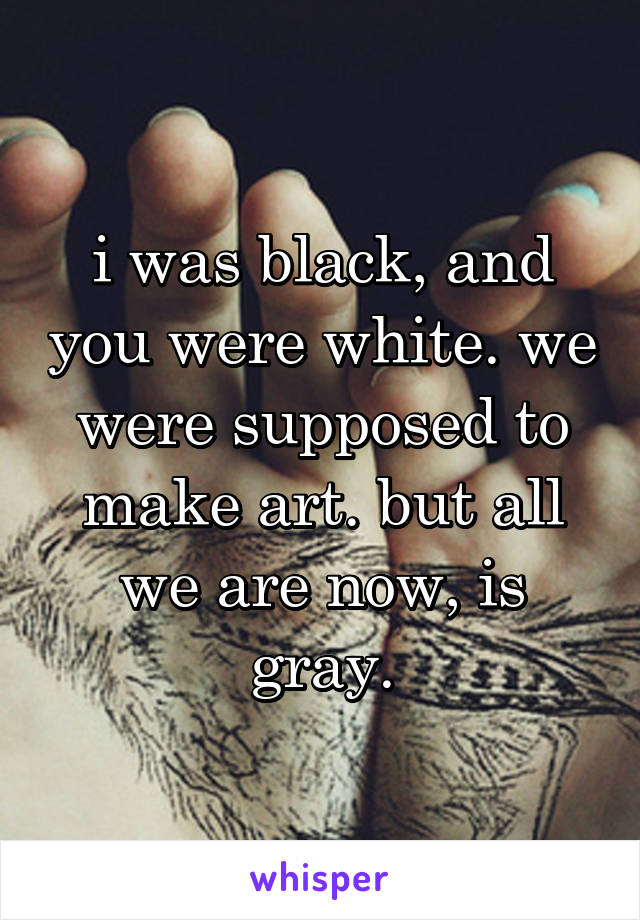 i was black, and you were white. we were supposed to make art. but all we are now, is gray.