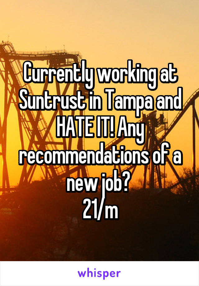 Currently working at Suntrust in Tampa and HATE IT! Any recommendations of a new job?  21/m