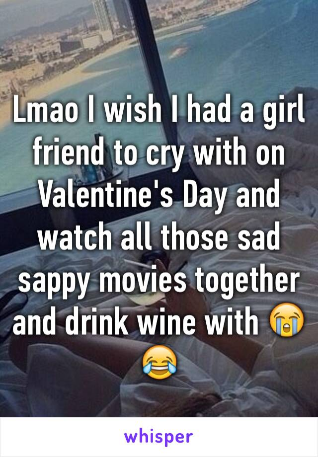 Lmao I wish I had a girl friend to cry with on Valentine's Day and watch all those sad sappy movies together and drink wine with 😭😂