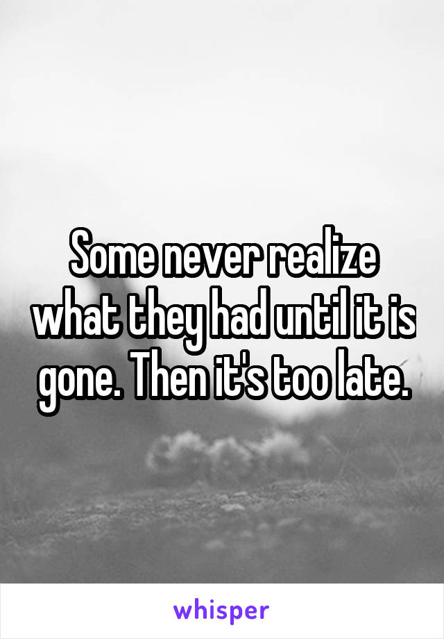 Some never realize what they had until it is gone. Then it's too late.