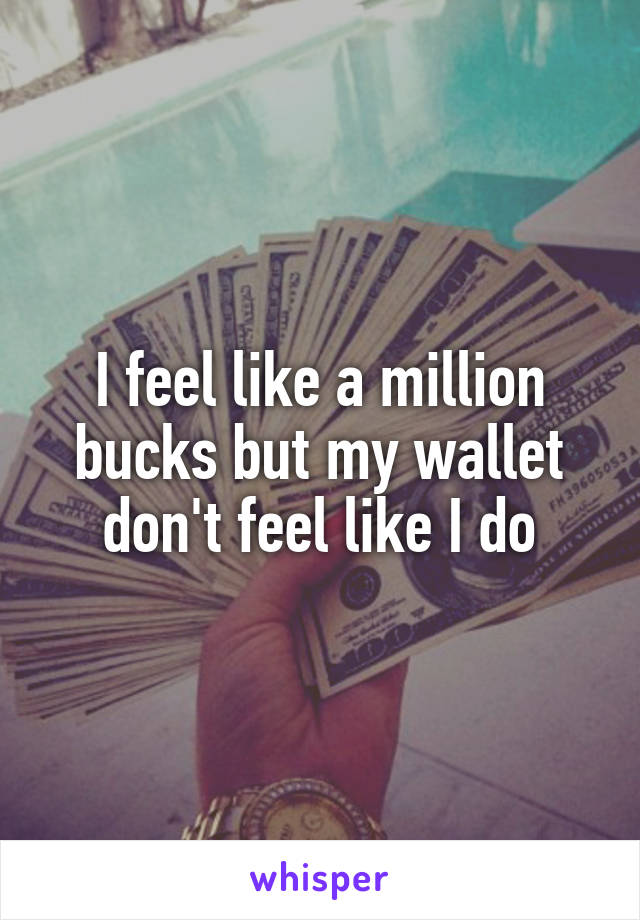 I feel like a million bucks but my wallet don't feel like I do