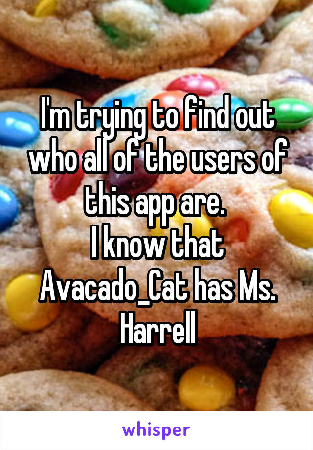 I'm trying to find out who all of the users of this app are.  I know that Avacado_Cat has Ms. Harrell