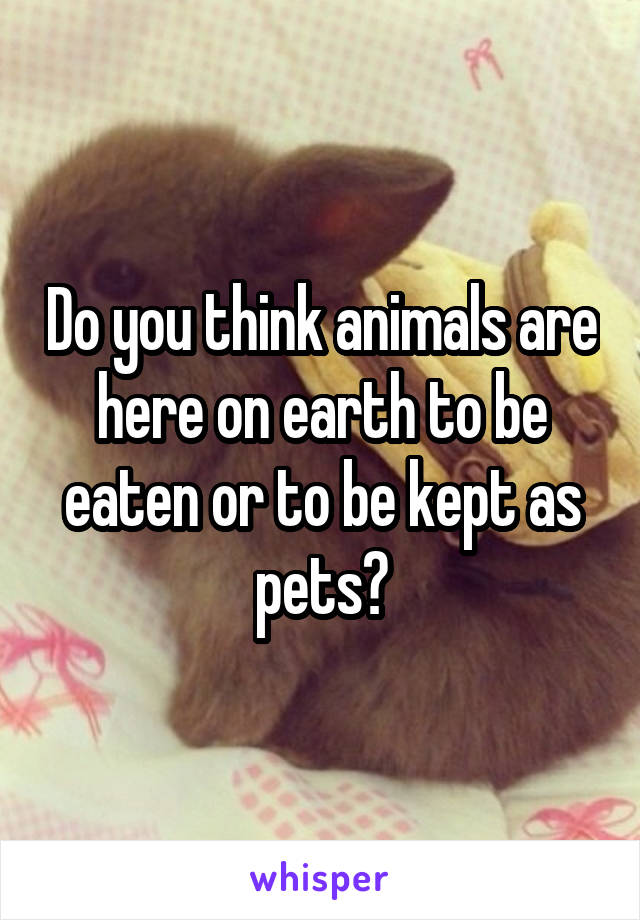 Do you think animals are here on earth to be eaten or to be kept as pets?