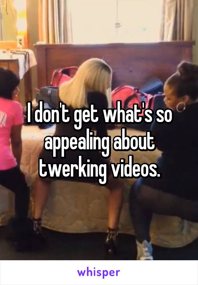 I don't get what's so appealing about twerking videos.