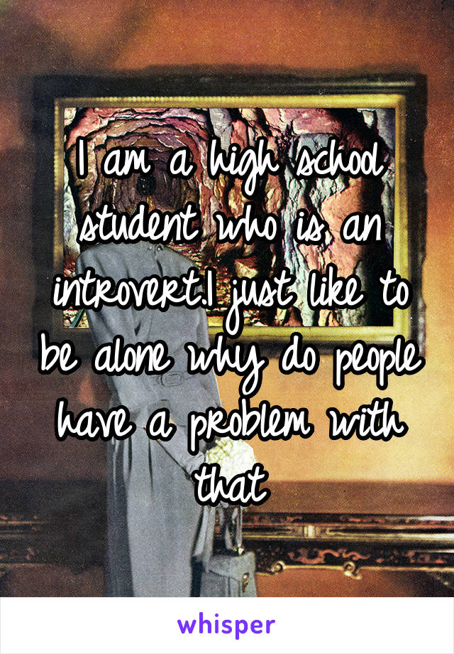 I am a high school student who is an introvert.I just like to be alone why do people have a problem with that
