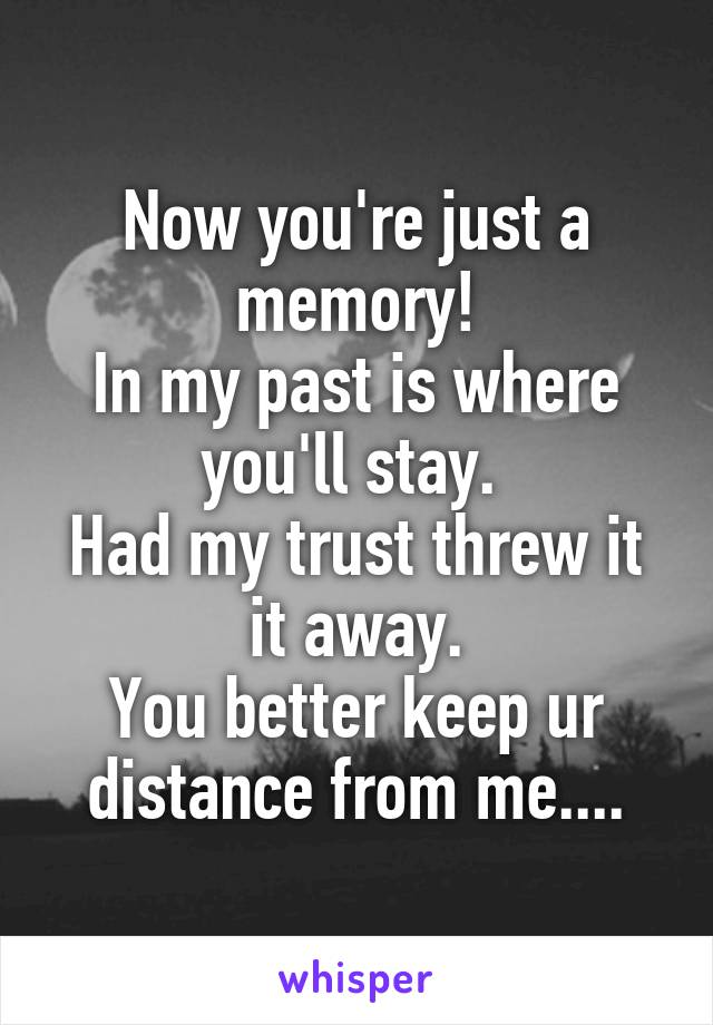 Now you're just a memory! In my past is where you'll stay.  Had my trust threw it  it away.  You better keep ur distance from me....
