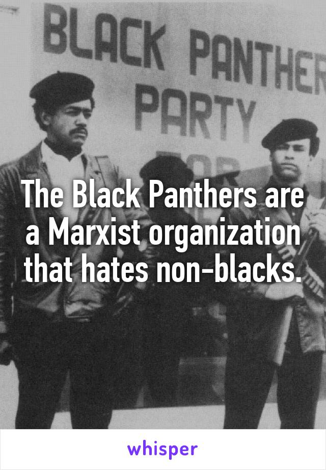 The Black Panthers are a Marxist organization that hates non-blacks.