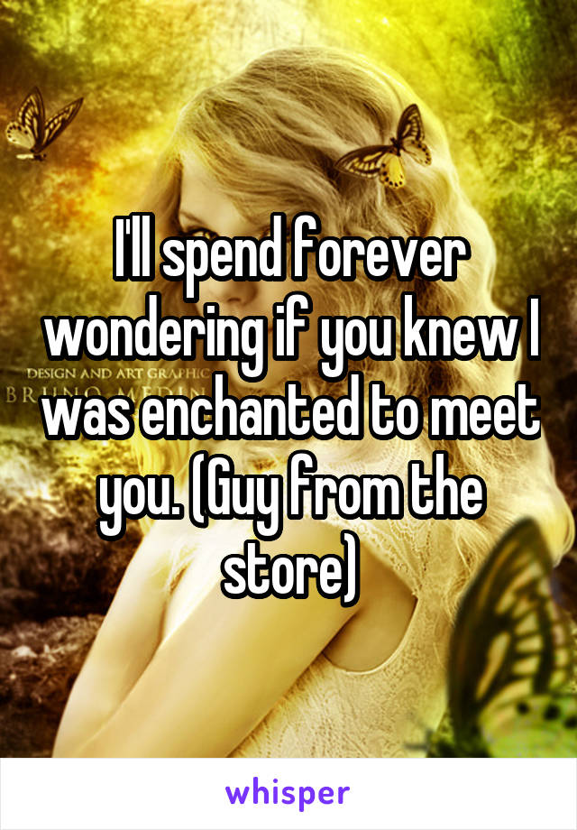 I'll spend forever wondering if you knew I was enchanted to meet you. (Guy from the store)