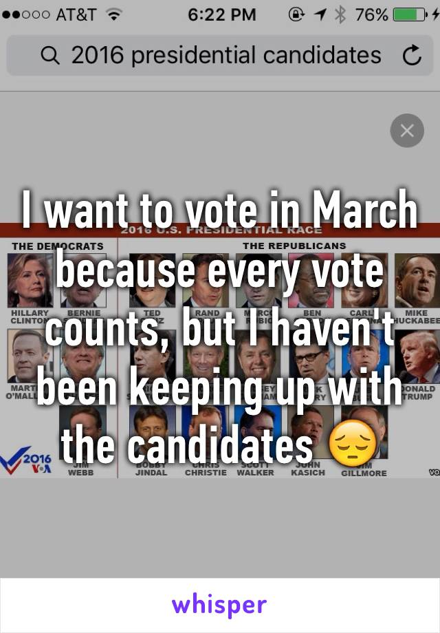 I want to vote in March because every vote counts, but I haven't been keeping up with the candidates 😔