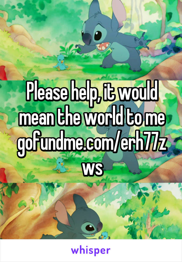Please help, it would mean the world to me gofundme.com/erh77zws