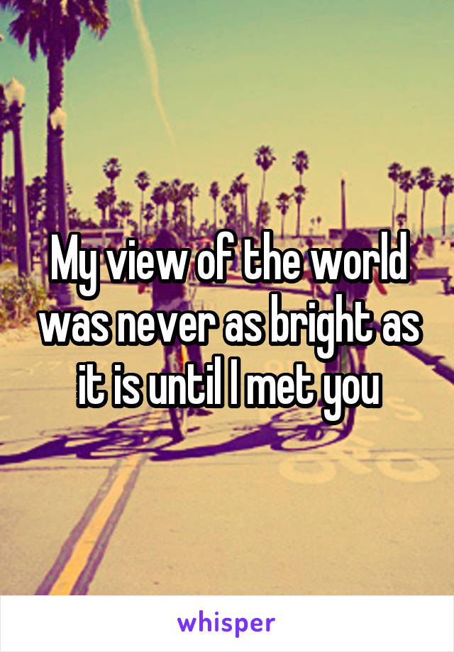 My view of the world was never as bright as it is until I met you