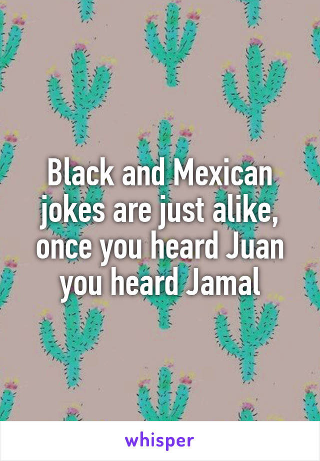 Black and Mexican jokes are just alike, once you heard Juan you heard Jamal