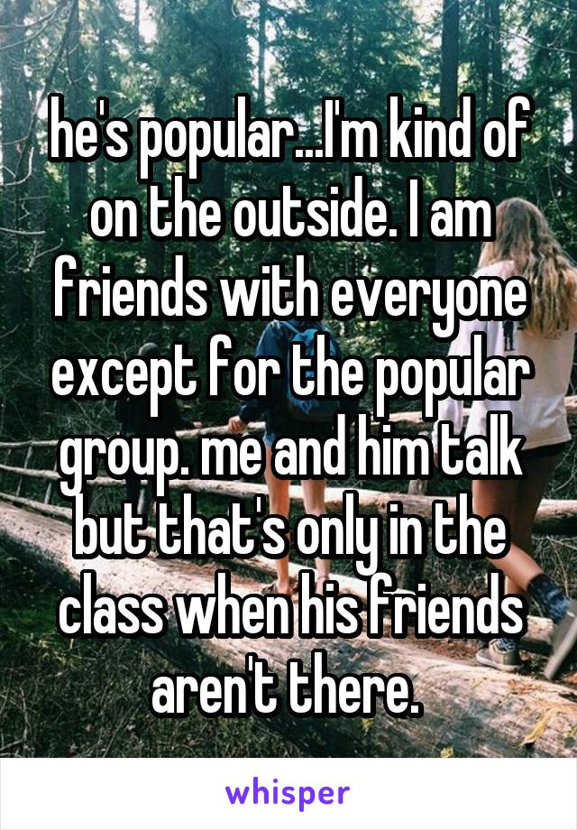 he's popular...I'm kind of on the outside. I am friends with everyone except for the popular group. me and him talk but that's only in the class when his friends aren't there.