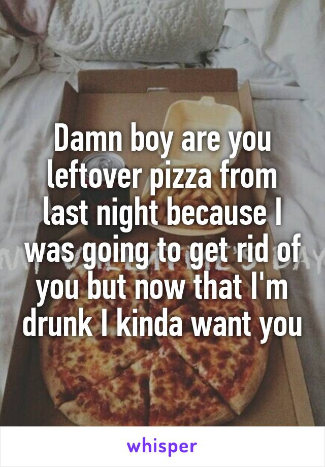 Damn boy are you leftover pizza from last night because I was going to get rid of you but now that I'm drunk I kinda want you