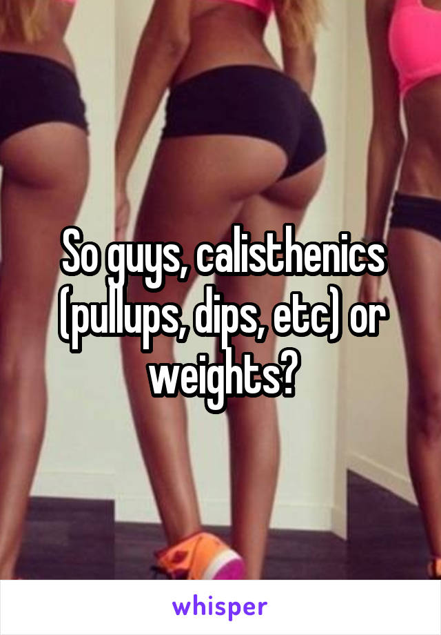 So guys, calisthenics (pullups, dips, etc) or weights?