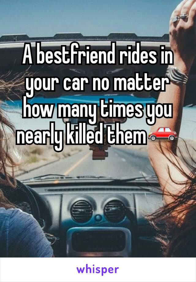 A bestfriend rides in your car no matter how many times you nearly killed them🚗