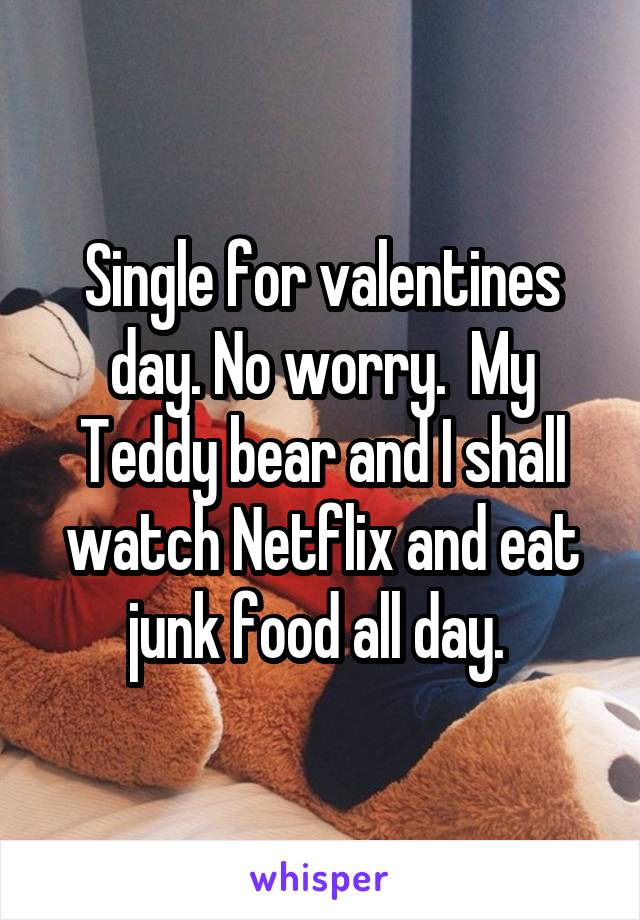 Single for valentines day. No worry.  My Teddy bear and I shall watch Netflix and eat junk food all day.