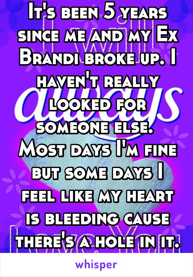 It's been 5 years since me and my Ex Brandi broke up. I haven't really looked for someone else.  Most days I'm fine but some days I feel like my heart is bleeding cause there's a hole in it.