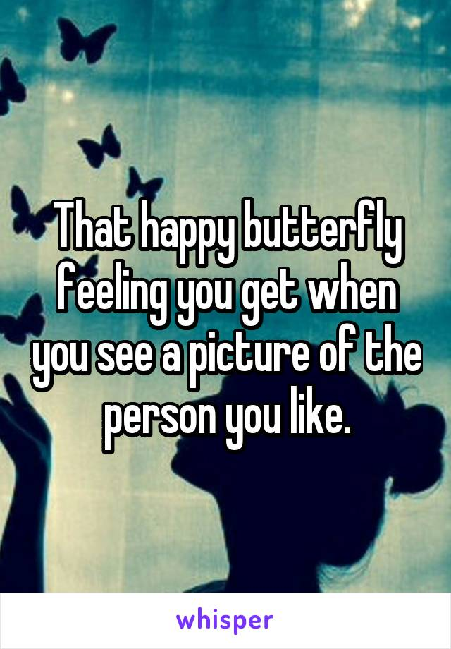 That happy butterfly feeling you get when you see a picture of the person you like.