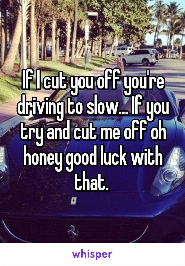 If I cut you off you're driving to slow... If you try and cut me off oh honey good luck with that.