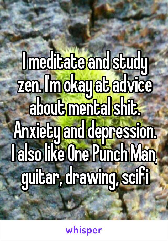 I meditate and study zen. I'm okay at advice about mental shit. Anxiety and depression. I also like One Punch Man, guitar, drawing, scifi