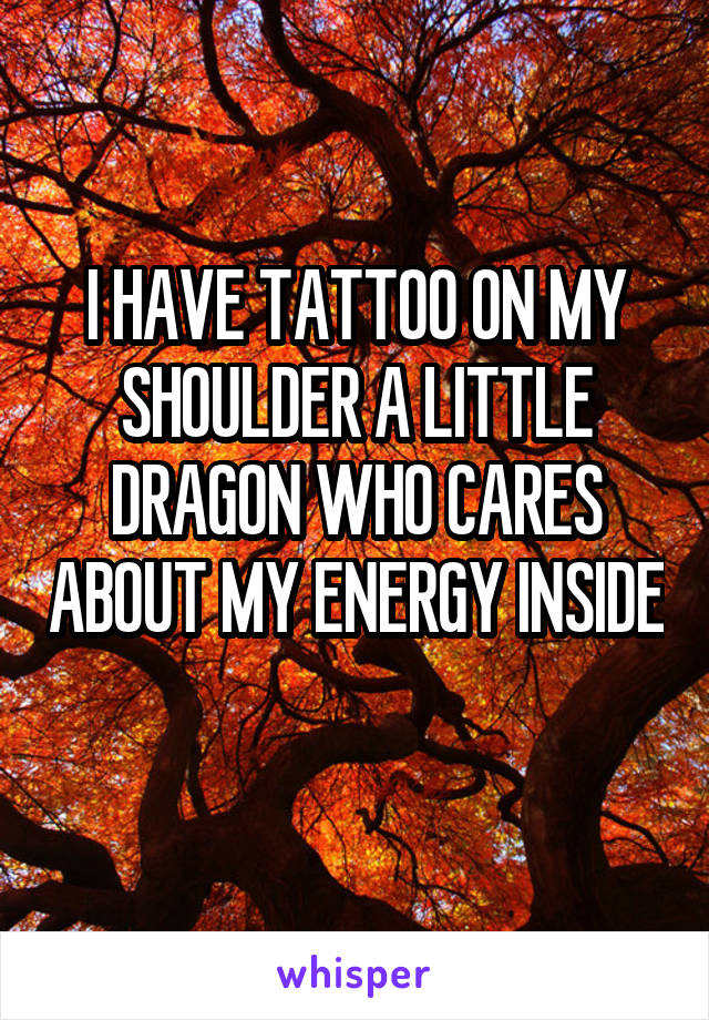 I HAVE TATTOO ON MY SHOULDER A LITTLE DRAGON WHO CARES ABOUT MY ENERGY INSIDE