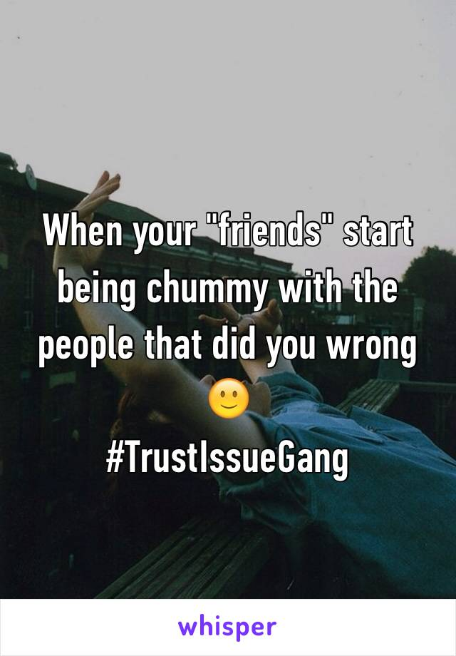 "When your ""friends"" start being chummy with the people that did you wrong 🙂  #TrustIssueGang"