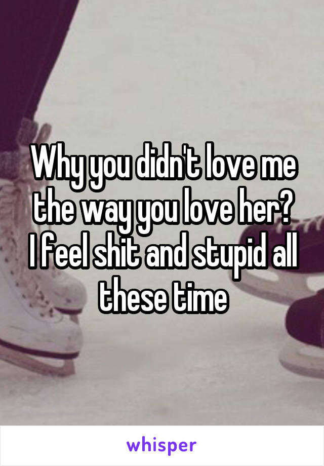 Why you didn't love me the way you love her? I feel shit and stupid all these time