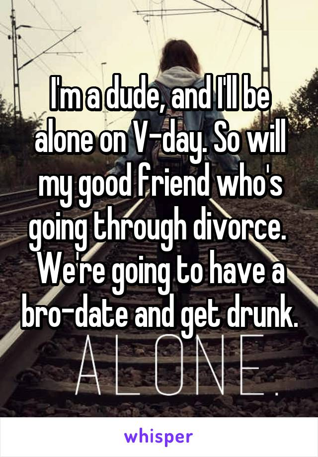 I'm a dude, and I'll be alone on V-day. So will my good friend who's going through divorce.  We're going to have a bro-date and get drunk.