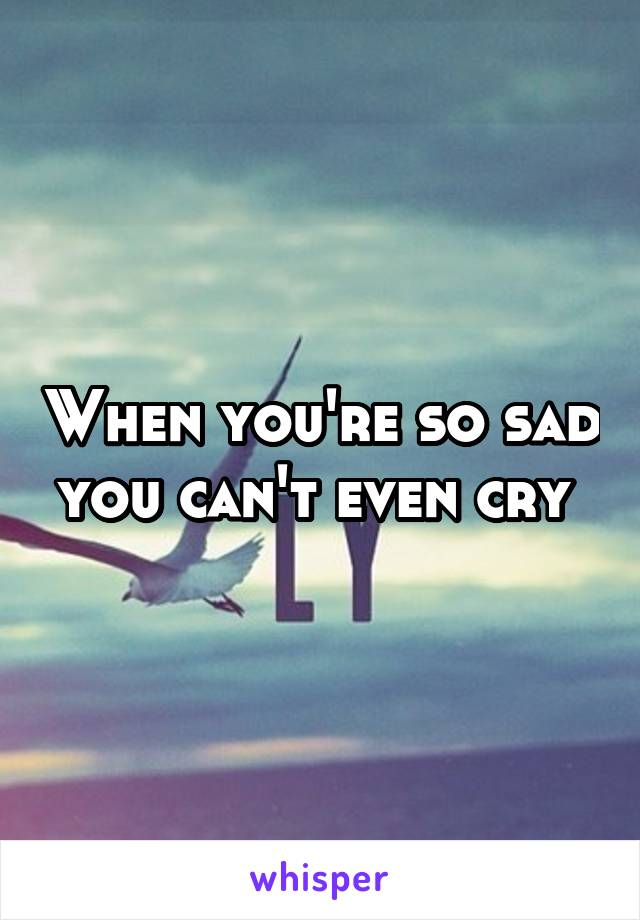 When you're so sad you can't even cry