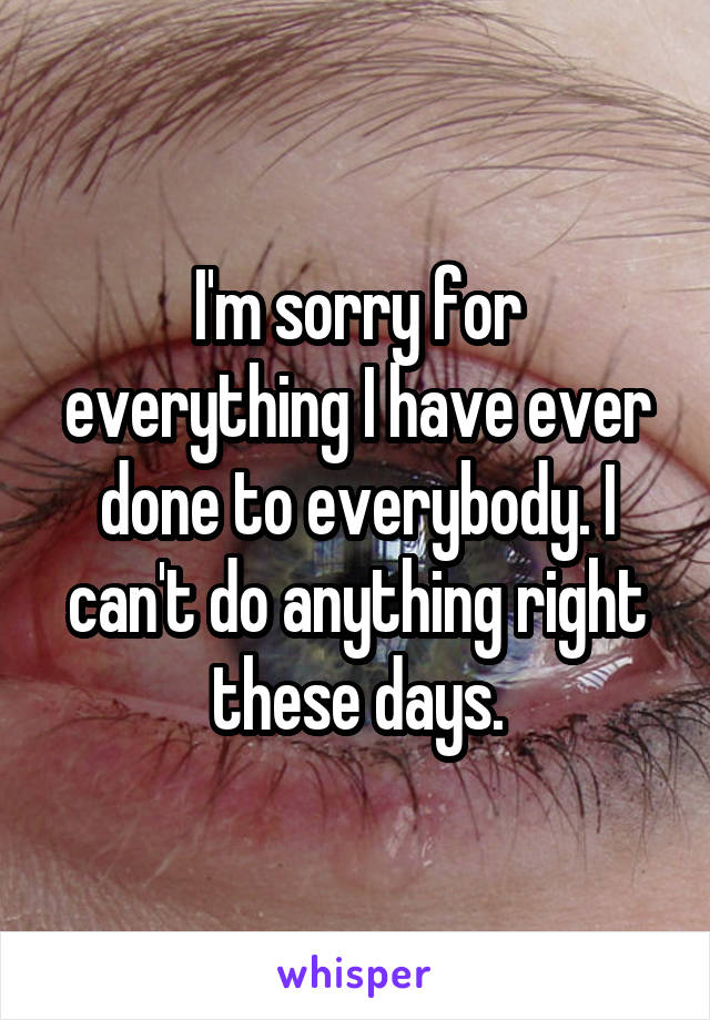 I'm sorry for everything I have ever done to everybody. I can't do anything right these days.