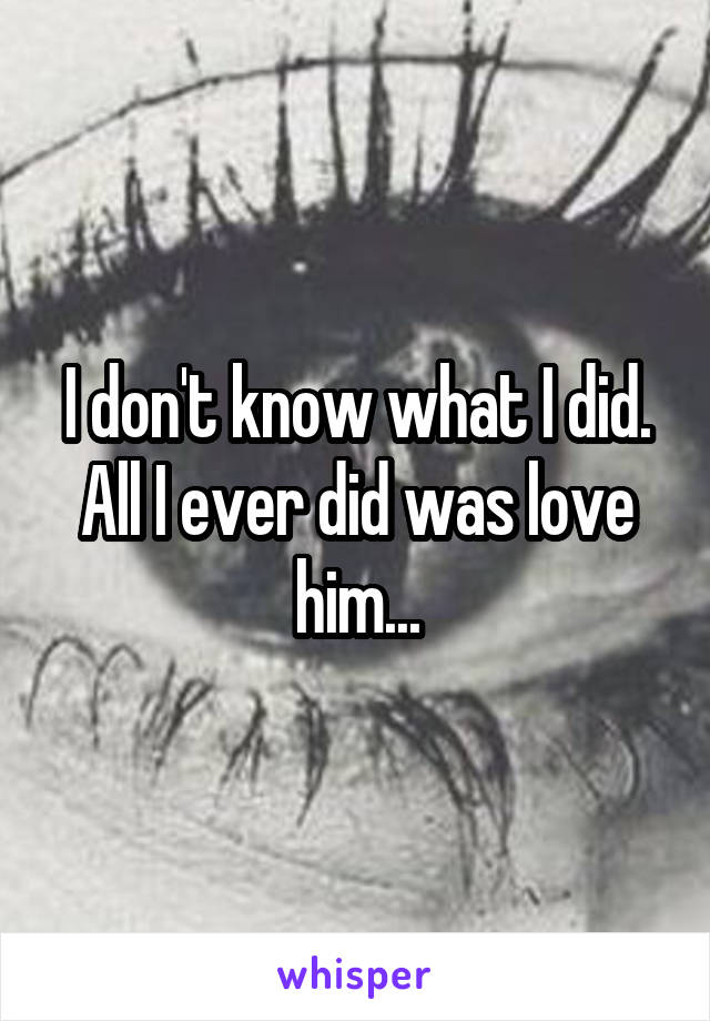 I don't know what I did. All I ever did was love him...